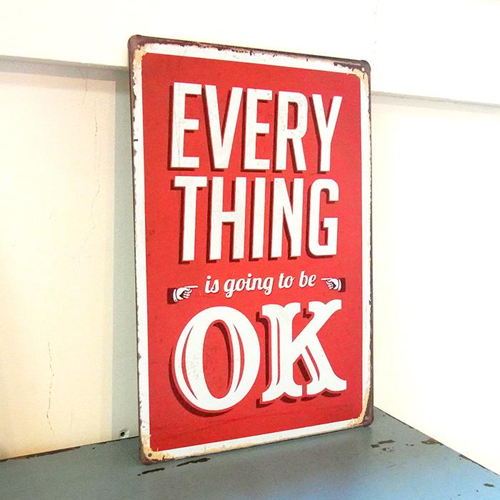 ゆうメール送料無料 アメリカンレトロ調 男女兼用 サインプレート EVERY THING 安い going be OK is to