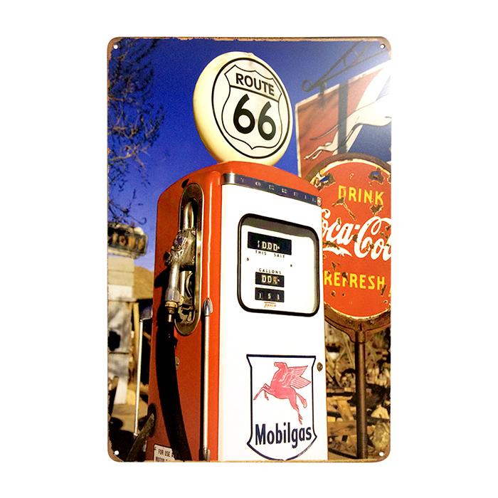 ゆうメール送料無料 アメリカンレトロ調 サインプレート gas station 在庫一掃売り切りセール ROUTE66 40%OFFの激安セール