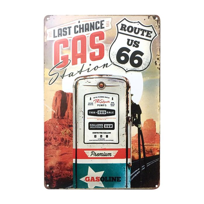 ゆうメール送料無料 アメリカンレトロ調 サインプレート LAST GAS ROUTE66 Station 入荷予定 CHANCE 爆安プライス