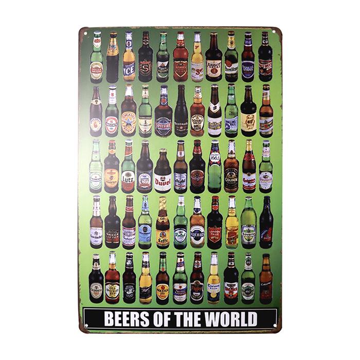 ゆうメール送料無料 アメリカンレトロ調 高品質新品 販売 サインプレート BEERS OF WORLD ボトルデザイン THE