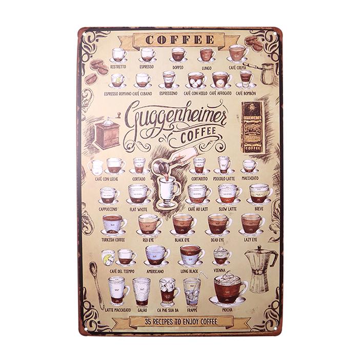ゆうメール送料無料 アメリカンレトロ調 サインプレート コーヒーメニュー COFFEE Guggenheime 通信販売 [並行輸入品]