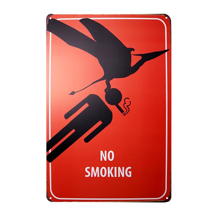 ゆうメール送料無料 2020 アメリカンレトロ調 サインプレート NO SMOKING 出荷 恐竜 レッド