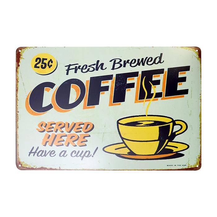 ゆうメール送料無料 ファッション通販 アメリカンレトロ調 サインプレート Fresh 特価品コーナー☆ Brewed COFFEE HERE Have cup a SERVED
