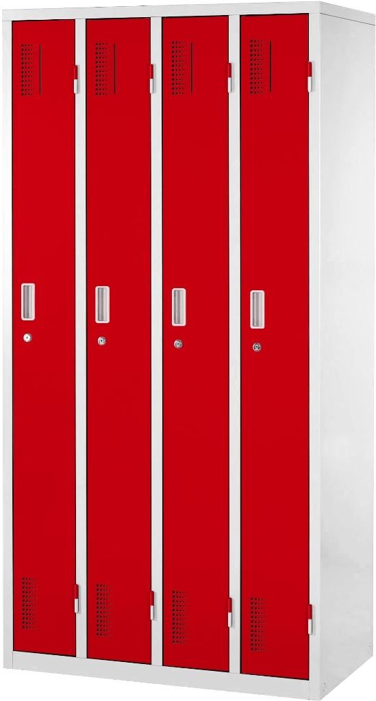 【送料無料】スチールロッカー | ロッカー オフィスロッカー OAスチールロッカー 更衣ロッカー カラーロッカー ワードローブ オフィス家具 おしゃれ かぎ付き 鍵 鍵付き 4人用 幅90cm 幅900mm カラー扉 棚付き 業務用 学校 施設 事務所 更衣室 レッド 赤 スチール製
