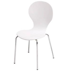 シェルチェア/スタッキングチェア 【4脚/1組セット】 座面高:46cm 木製 背もたれ付き ホワイト(白)