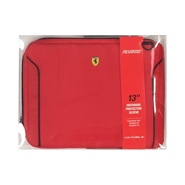 FERRARI 公式ライセンス品 FIORANO Red PU Leather Computer Sleeve 13インチノートパソコン等 FEDA2ICS13RE