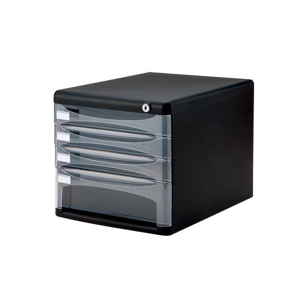 (業務用セット)ナカバヤシ セキュリティ デスクトップケース 書類ケース4段 A4-SK4D ブラック【×2セット】