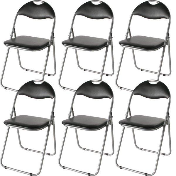 折りたたみパイプ椅子 【6脚入り/1セット】 スチール 背もたれ付き (会議用椅子/ミーティングチェア) IK-0102