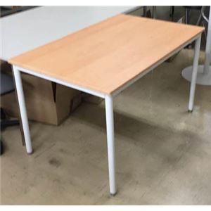 多目的 ミーティングテーブル/会議テーブル 【幅135cm ナチュラル】 スチールフレーム【代引不可】