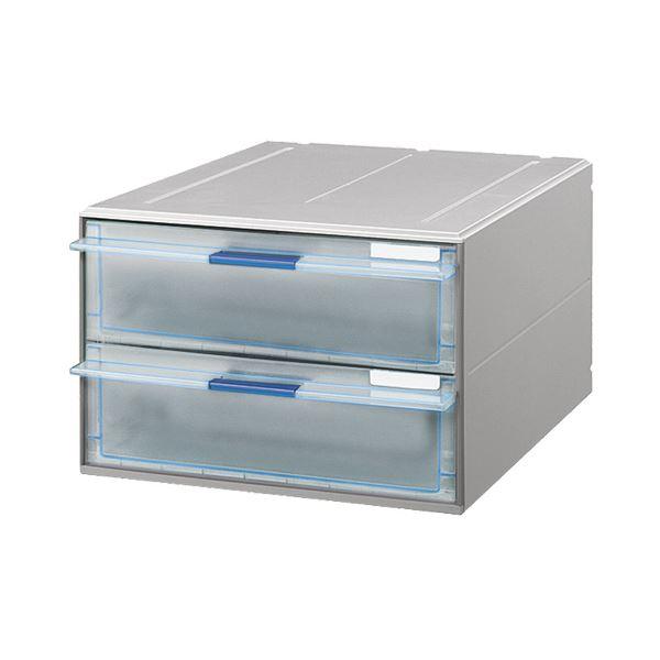 (まとめ) コクヨ レターケース(UNIFEEL) 透明引出しタイプ A4タテ 深型2段 ライトグレー LC-UNT202M 1台 【×2セット】
