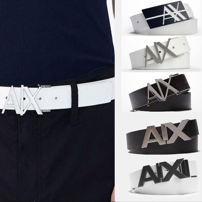 アメリカ正規入荷【ARMANI EXCHANGE】A/X アルマーニ・エクスチェンジMENS BELT/ レザーベルト 正規(ax415)白・ホワイト・黒・ブラック