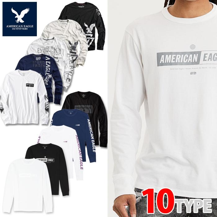 American Eagle・アメリカンイーグル<BR>メンズ ロンT 長袖 ロングTシャツ 白 黒<BR>(ae261)ホワイト ブラック ネイビー USA限定 送料無料