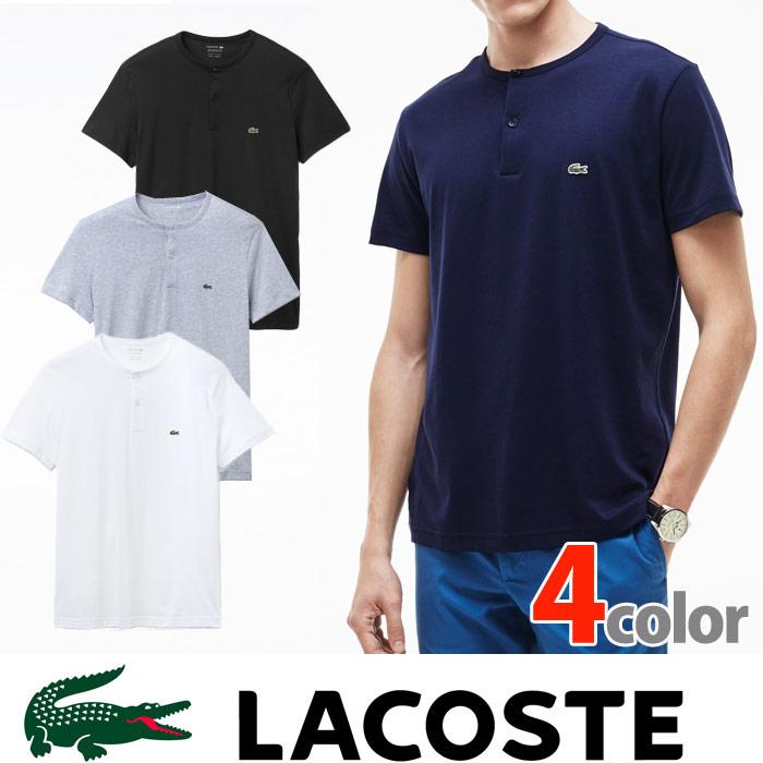 ラコステ メンズ ワンポイント ヘンリーネック Tシャツ LACOSTE US正規品 la24