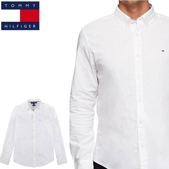 トミー 白シャツ TOMMY HILFIGER メンズ トミーヒルフィガー 長袖シャツ t498 ホワイト