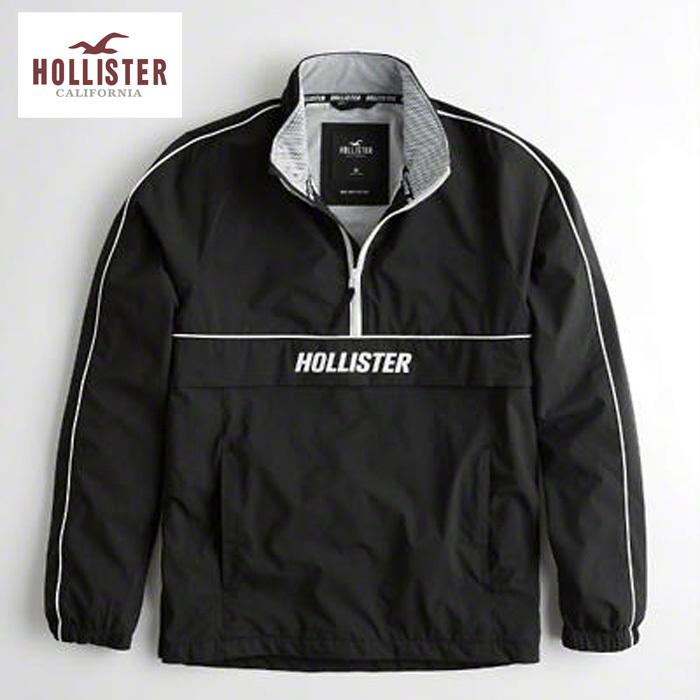 Hollister Co. ホリスター ハーフジップ ナイロン ウインドブレーカー h1465 ブラック 黒