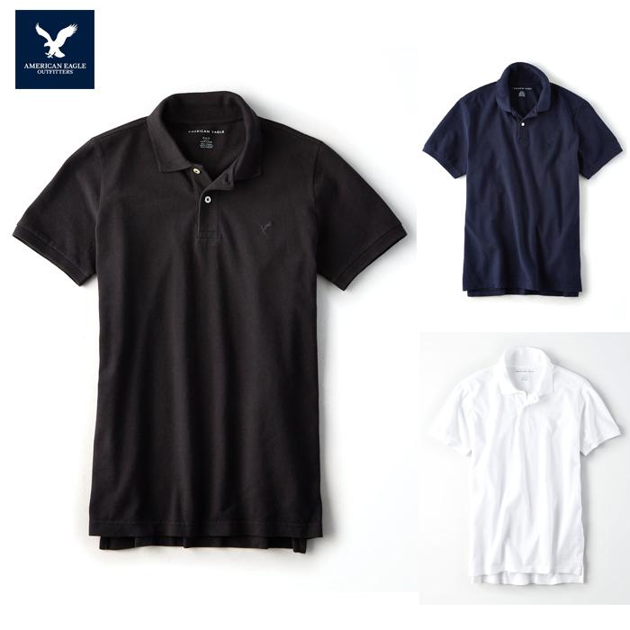 アメリカンイーグル ポロシャツ 半袖 メンズ AE American Eagle ae1995 紺 黒 白 XL 大きめ 送料無料