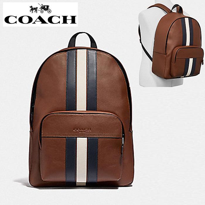 コーチ リュック アウトレット メンズ レザー バックパック COACH Houston Backpack With Varsity Stripe ブラウン co58