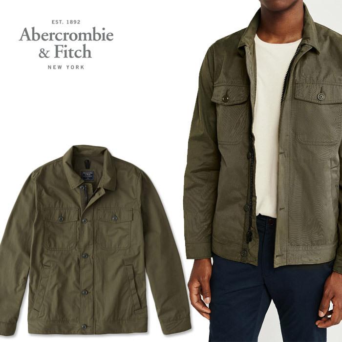 アバクロ メンズ 長袖シャツ A&F Abercrombie アバクロンビー ユーティリティジャケットシャツ ab679 オリーブ