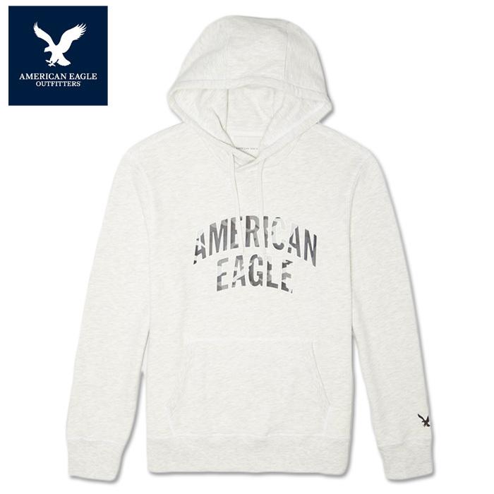 【American Eagle】アメリカンイーグル AE スウェットメンズ プルオーバーパーカー ae2027 裏起毛 白 ホワイト