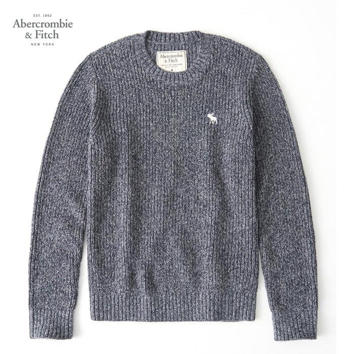アバクロ ニット Abercrombie & Fitch メンズ ケーブルニット 長袖 Mens Crew Sweater A&F ab681 ネイビー