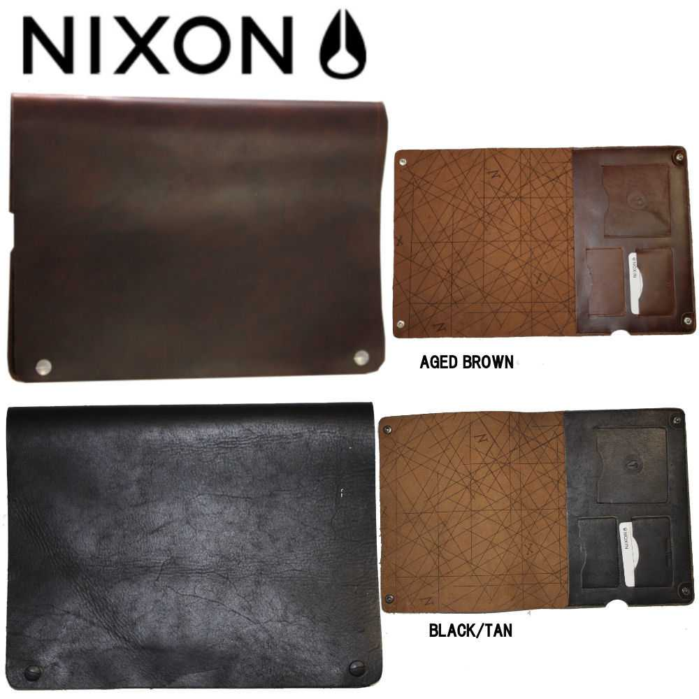 【NIXON】ニクソン EDITION IPAD CASE 二つ折りレザーケース スナップボタン開閉 無地/ブラウン・ブラック【あす楽対応】