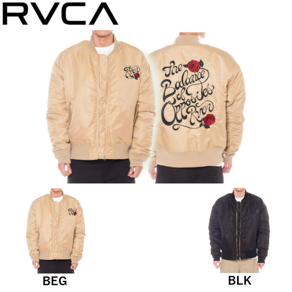 【RVCA】ルーカ 2019秋冬 RVCA BALANCE ROSE MA-1 メンズ バランス ローズ ジャケット アウター キルティング スケートボード サーフィン アウトドア S/M/L 2カラー【あす楽対応】
