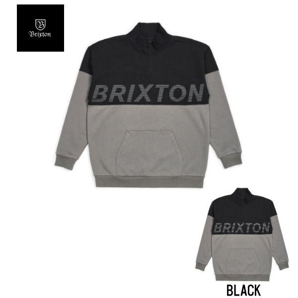 【BRIXTON】ブリクストン 2019 秋冬 DIMENSION 1/3 ZIP ジッププルオーバースウェットシャツ 長袖 トップス M・L BLACK【あす楽対応】