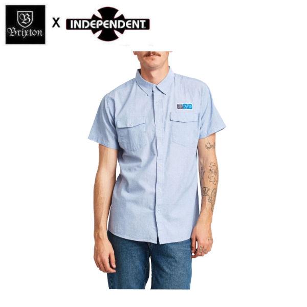 【BRIXTON】ブリクストン BRIXTON x INDEPENDENT インディペンデント 2019春夏 OFFICER S/S WOVEN メンズ 半袖シャツ ボタンダウンシャツ ワイシャツ トップス S・M・L