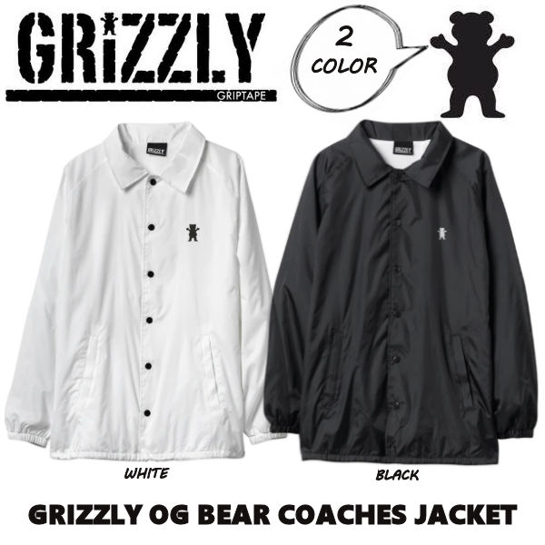 【GRIZZLY】グリズリー OG BEAR COACHES JACKET メンズ コーチジャケット 長袖 スケートボード sk8 skateboard S-L 2カラー【あす楽対応】