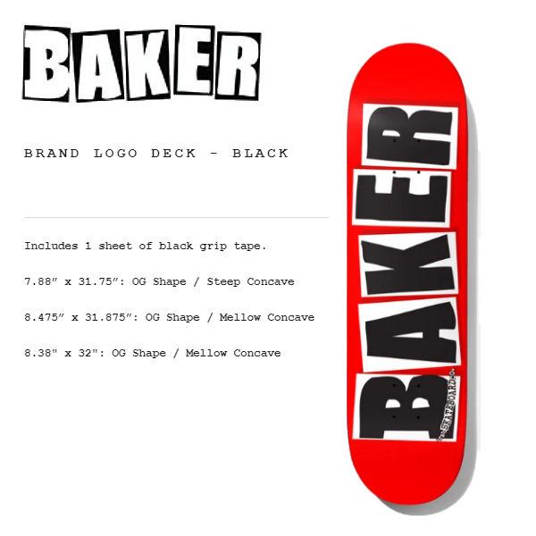 """Baker Skateboard Complete Logo Black//White 8.475/"""" OG Shape"""