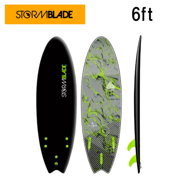 【STORMBLADE】ストームブレード 6ft Swallow Tail Surfboard サーフボード 板 ソフトボード ショートボード サーフィン Black x Silver Marble【あす楽対応】