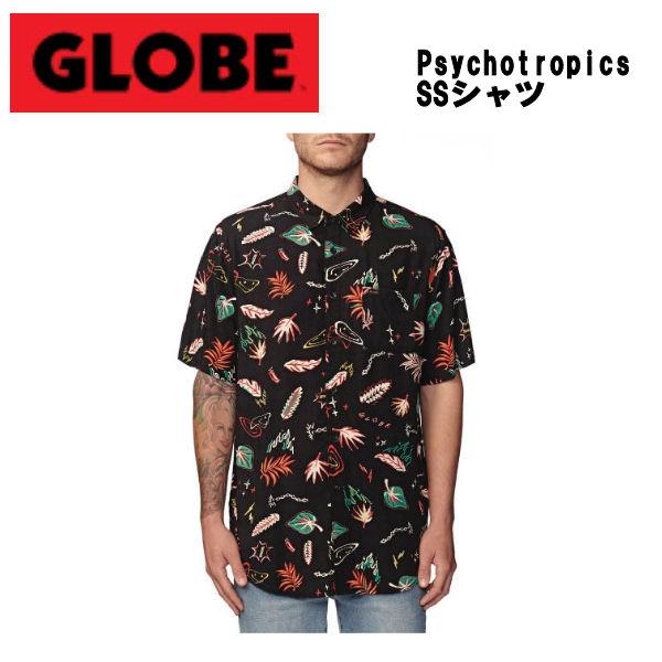 【GLOBE】グローブ Psychotropics SSシャツ 半袖 ボタンダウン スケートボード サーフィン アウトドア S/M/L/XL ブラック【あす楽対応】
