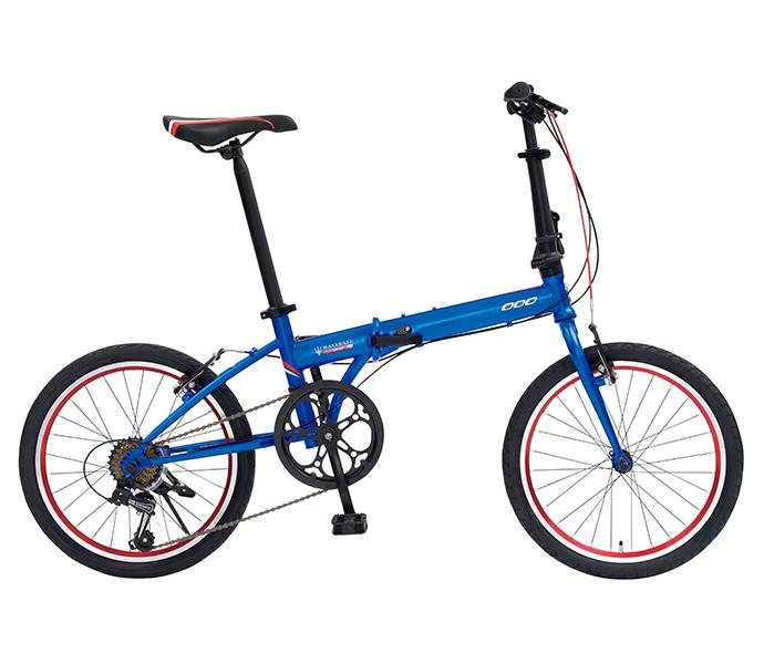 自転車 配送先一都三県一部地域限定送料無料 折りたたみ自転車 マセラティ MASERATI FDB207E ブルー 20インチ 7段ギア ドルフィン型軽量フレーム