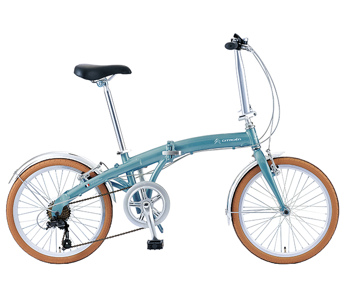 自転車 配送先一都三県一部地域限定送料無料 折りたたみ自転車 シトロエン CITROEN AL-FDB 207D ブルー 20インチ 7段ギア ドルフィン型軽量フレーム