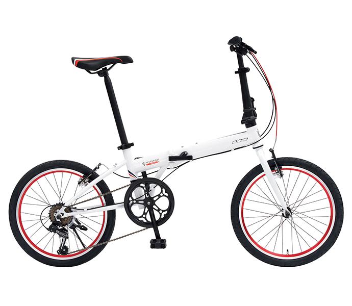 自転車 配送先一都三県一部地域限定送料無料 折りたたみ自転車 マセラティ MASERATI FDB207E ホワイト 20インチ 7段ギア ドルフィン型軽量フレーム