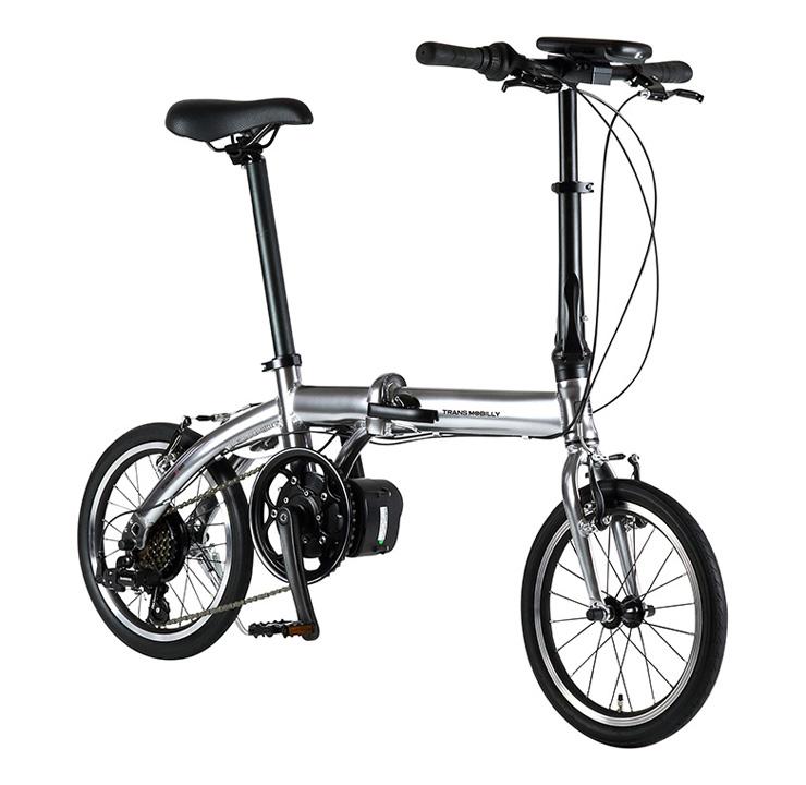 【ゲリラクーポン発行中】 自転車 配送先一都三県一部地域限定送料無料 電動アシスト自転車 折りたたみ トランスモバイリー TRANS MOBILLY ULTRA LIGHT E-BIKE AL-FDB166E シルバー 16インチ 6段ギア コンパクト 軽量