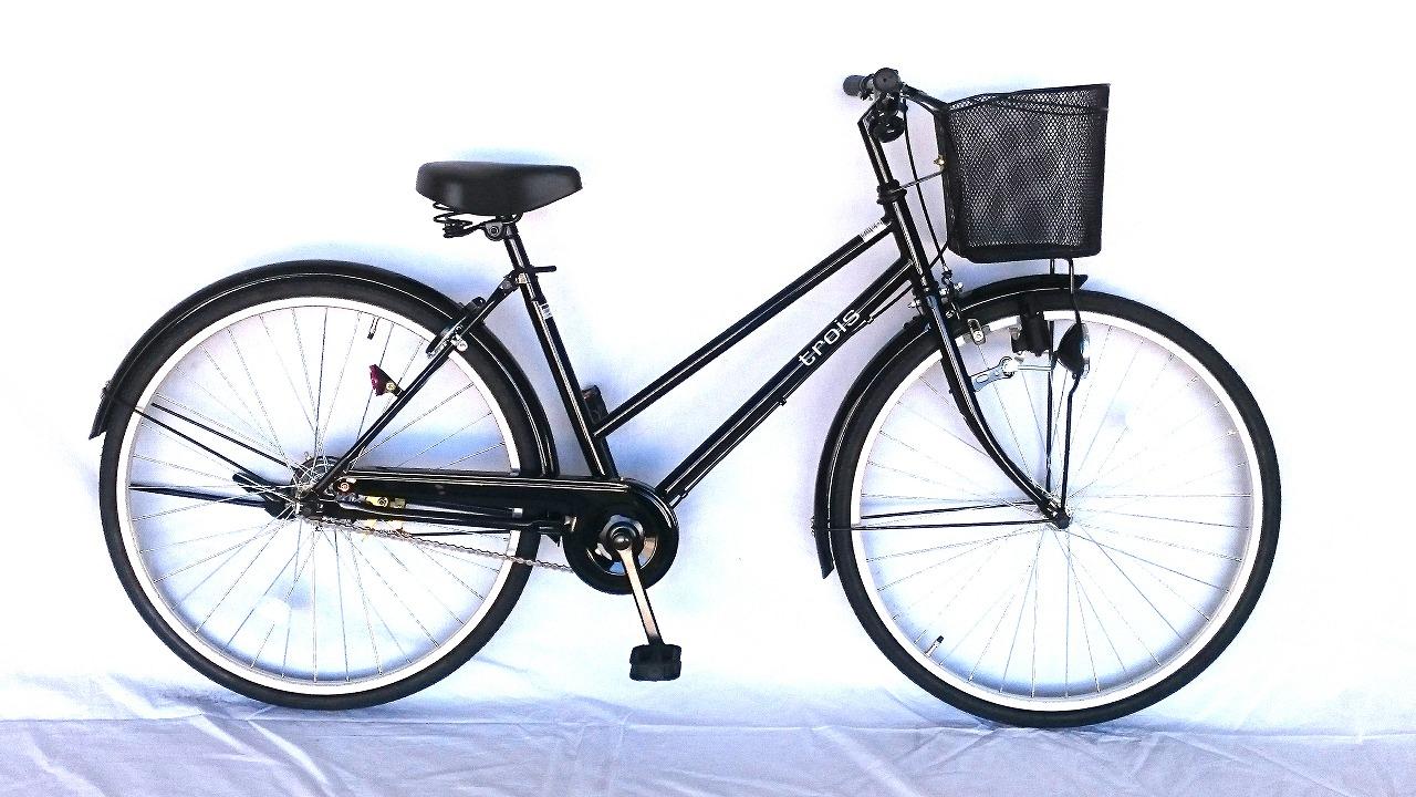 trois シルバー 送料無料 通販 ママチャリ サントラストおしゃれでシンプルなシティサイクル 一都三県限定 自転車 26インチ 激安 ギアなし おしゃれ 変速 シティサイクル トロワ 変速なし 自転車 デザインフレームで人気 シティ車