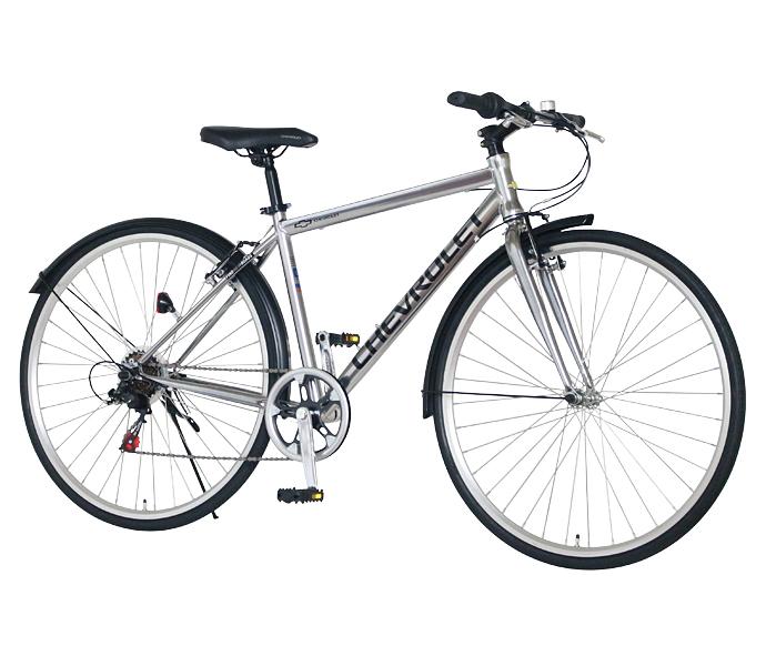 配送先一都三県一部地域限定 クロスバイク シボレー 自転車 シルバー 700c 外装6段変速ギア CHEVROLET CHEVY シェビー 自転車 シボレー CHEVY METAL CRB7006 ギア付 激安 通販 おしゃれ 安い