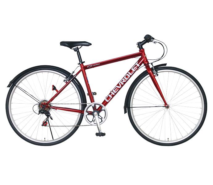 配送先一都三県一部地域限定送料無料 クロスバイク シボレー 自転車 レッド 赤 700c 外装6段変速ギア CHEVROLET CHEVY シェビー 自転車 シボレー CHEVY METAL CRB7006 ギア付 通販 おしゃれ
