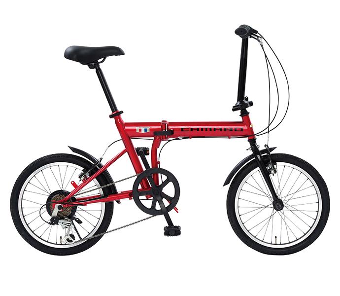 折りたたみ自転車 2019年モデル シボレー 18インチ 外装6段変速ギア CHEVROLET CAMARO FDB 186 軽量 自転車 おしゃれ レッド 赤 折り畳み自転車