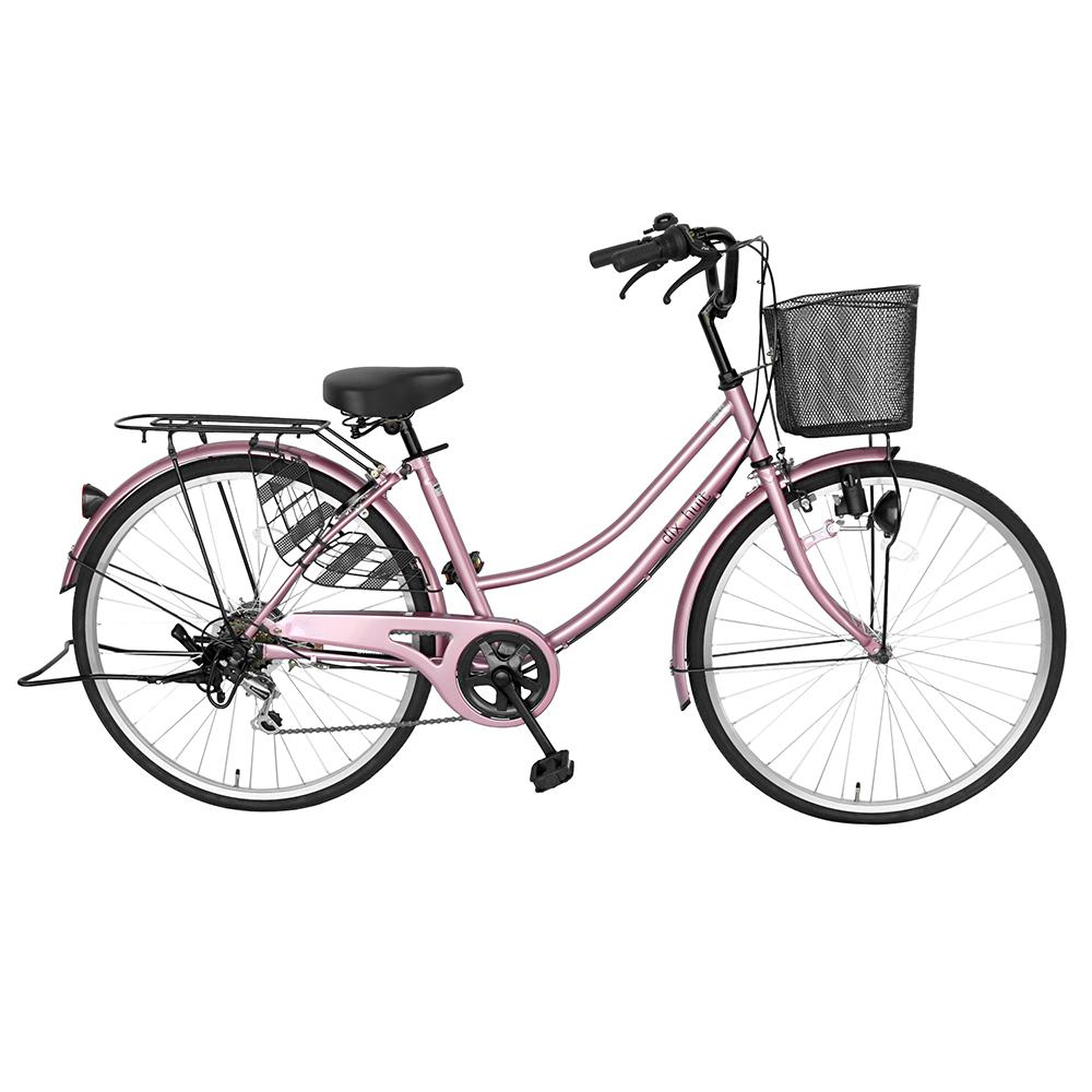 2台セット販売 自転車 ママチャリ 軽快車 26インチ 外装6段変速 6段ギア サントラスト 自転車 ピンク 桃色 かわいい ママチャリ 自転車 dixhuit ギア付きで使いやすいママチャリ 自転車 女の子 カゴ カギ つき 通学 シティサイクル 女の子