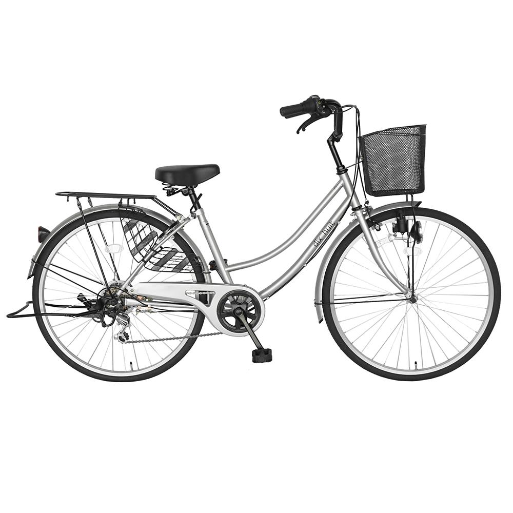 2台セット販売 自転車 ママチャリ 26インチ 外装6段変速 6段ギア サントラスト 自転車 シルバー 銀 かわいいママチャリ 自転車 dixhuit ギア付きで使いやすいママチャリ 自転車 女の子おしゃれ カゴ カギ つき 通学 シティサイクル