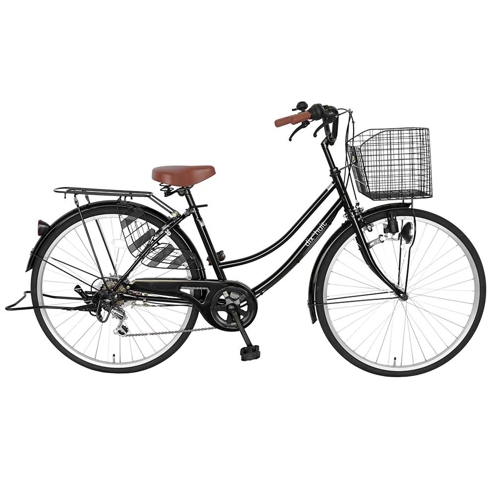 2台セット販売 自転車 デザインフレームで人気 サントラスト ママチャリ 軽快車 ママチャリ 自転車 ブラック dixhuit 6段変速ギアフレーム 26インチ ギア付 鍵付 ハンドルとサドルが茶色でかわいいと大人気 シティサイクル 両足スタンド