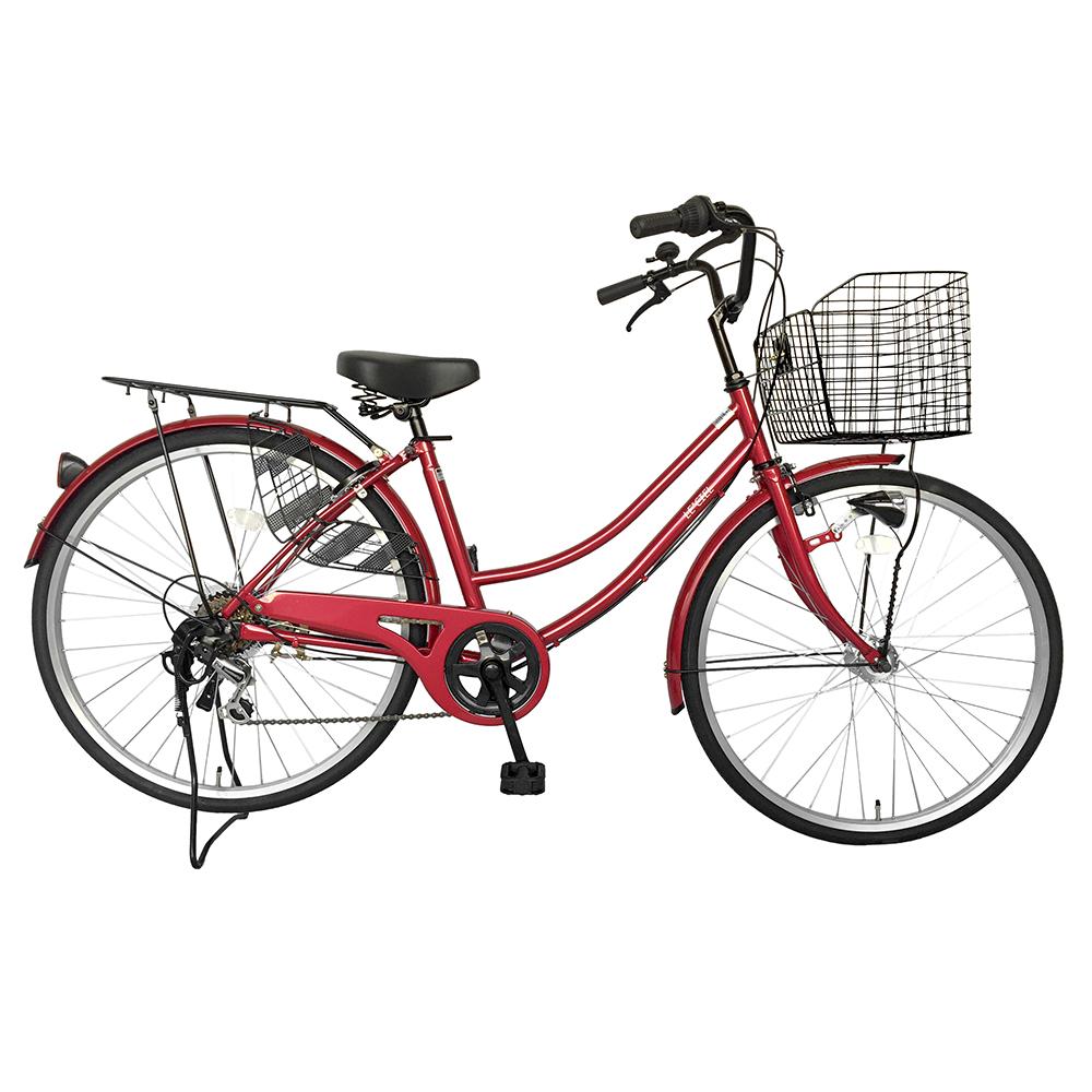 自転車 26インチ サントラストママチャリ6段変速ギア オートライト ギア付き かぎ付き LECIEL ルシール レッド 赤 シティサイクル 通販 おしゃれ