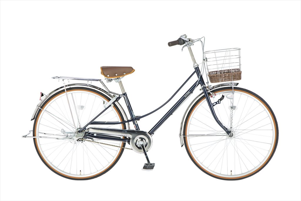 イーストボーイ デラックス 自転車 27インチ シティサイクル 自転車 女子高生 女子中学生、女子小学生の通学に最適 2018年モデル ママチャリ 内装3段ギア ローラーブレーキ LEDオートライト EASTBOY BAA EB273DX ネイビー 変速 ギア付 女の子