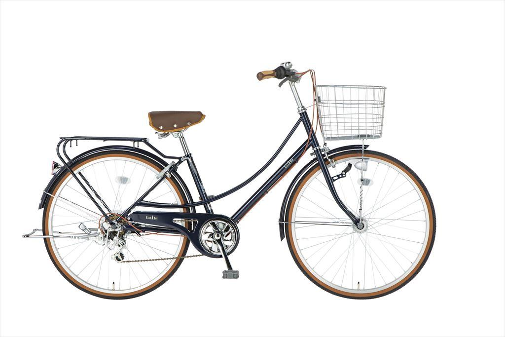 イーストボーイ カジュアルファミリー 自転車 26インチ シティサイクル 自転車 女子高生 女子中学生、女子小学生 2018年モデル ママチャリ シティ車 6段変速 6段ギア ローラーブレーキ LEDオートライト EASTBOY BAA EB266CF ブルー ギア付 女の子