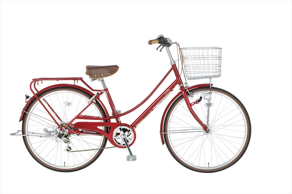配送先一都三県限定 イーストボーイ カジュアルファミリー 自転車 26インチ シティサイクル 自転車 女子高生 通学 2018年モデル ママチャリ シティ車 6段変速 6段ギア ローラーブレーキ LEDオートライト EASTBOY BAA EB266CF レッド ギア付 女の子