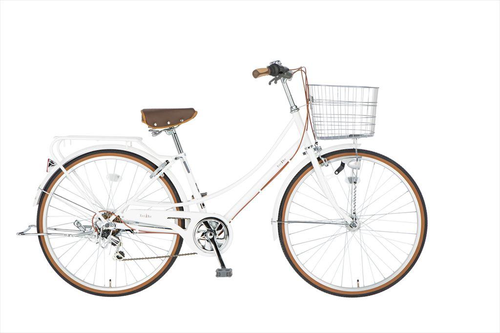 イーストボーイ カジュアルファミリー 自転車 26インチ シティサイクル 自転車 女子高生 女子中学生、女子小学生 通学2018年モデル ママチャリ 6段変速 6段ギア ローラーブレーキ LEDオートライト EASTBOY BAA EB266CF ホワイト ギア付 女の子