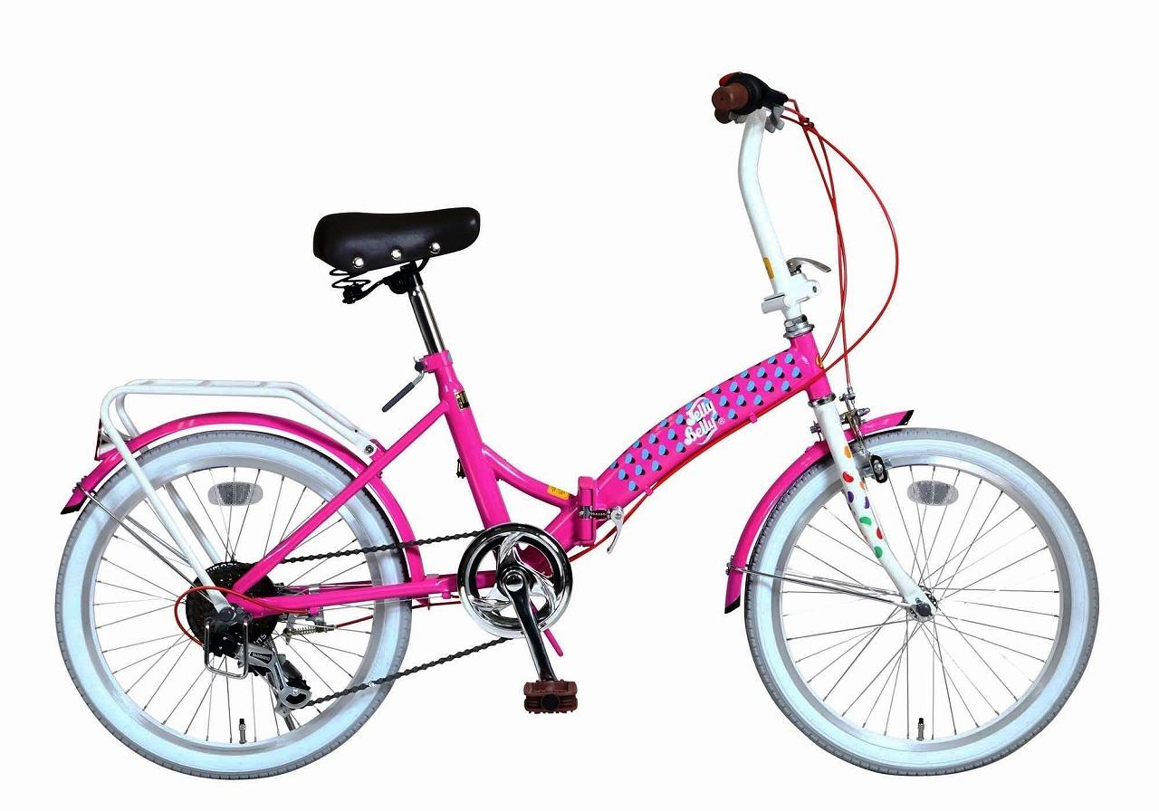 ジェリーベリー フォールディングバイク 折りたたみ自転車 20インチ 外装6段変速 6段ギア 折り畳み自転車 自転車 ギア付き ピンク ホワイト 桃色 白 TJB-206FD-PI W 女の子 通販 おしゃれ