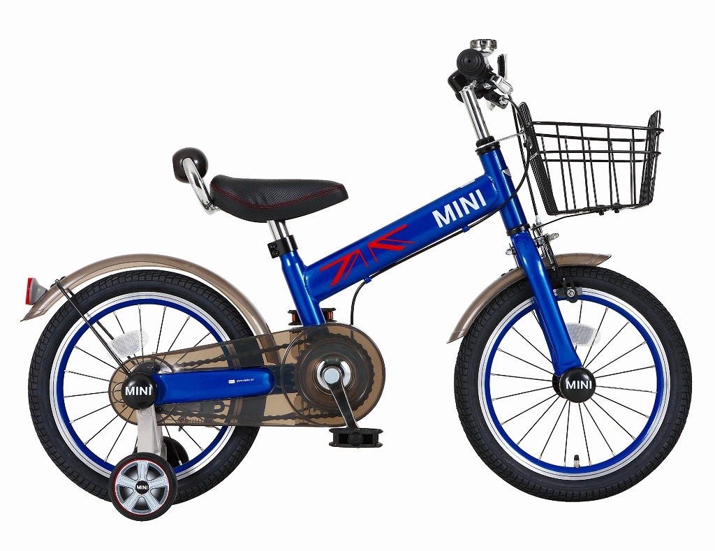 配送先一都三県一部地域限定送料無料 MINI KIDS BIKE16 2016モデル 子供用自転車 ディープブルー 青 ミニ 適正身長101~119cm BMW 子供車 補助輪付き かご付き 14インチキッズ 自転車 ジュニア 通販 おしゃれ